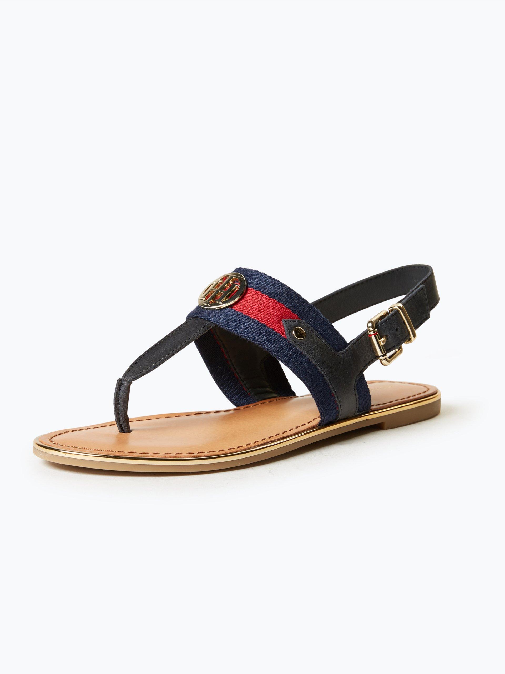 tommy hilfiger damen sandalen mit leder anteil marine uni. Black Bedroom Furniture Sets. Home Design Ideas