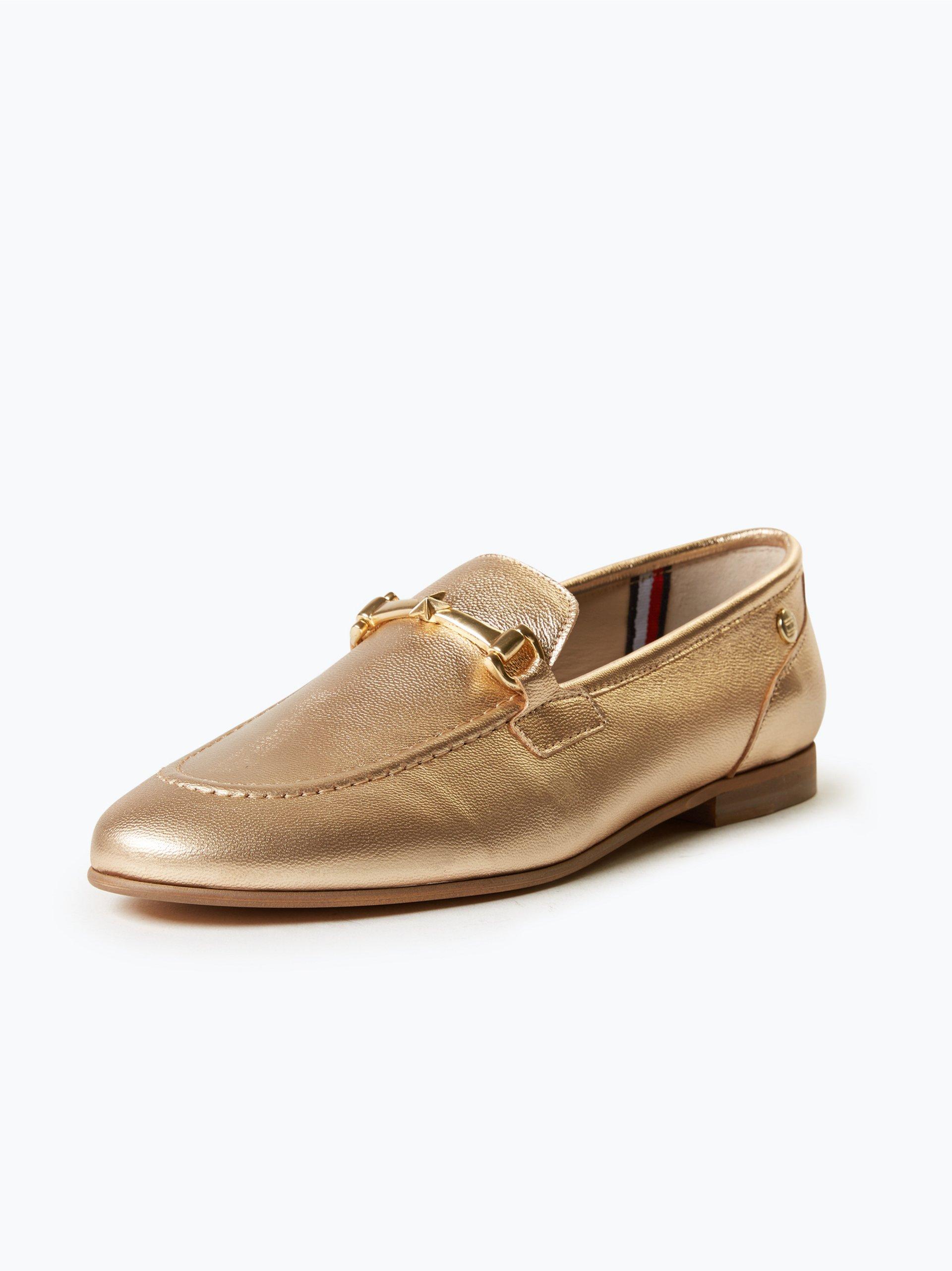 tommy hilfiger damen slipper aus leder gold uni online. Black Bedroom Furniture Sets. Home Design Ideas