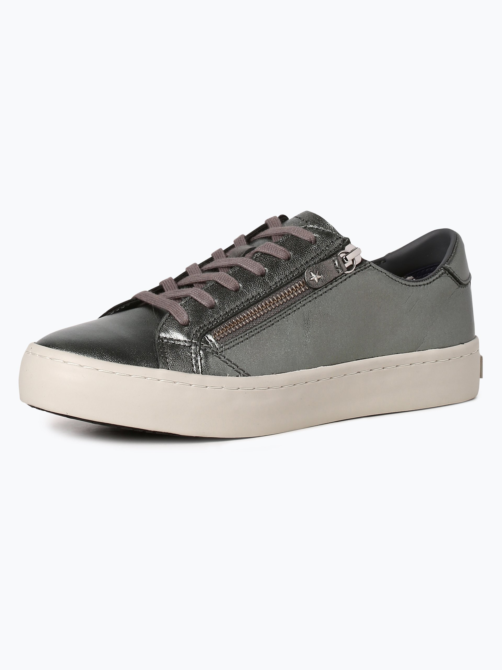 tommy hilfiger damen sneaker aus leder silber uni online kaufen vangraaf com. Black Bedroom Furniture Sets. Home Design Ideas