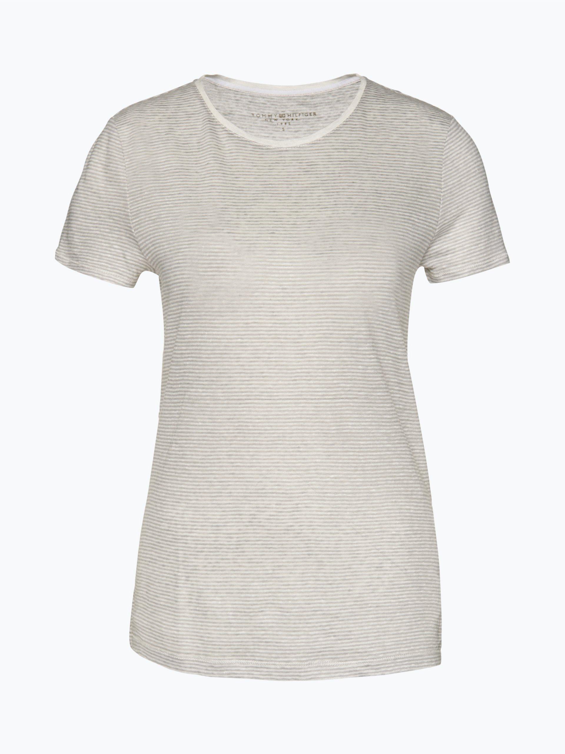 tommy hilfiger damen t shirt aus leinen clarissa silber. Black Bedroom Furniture Sets. Home Design Ideas