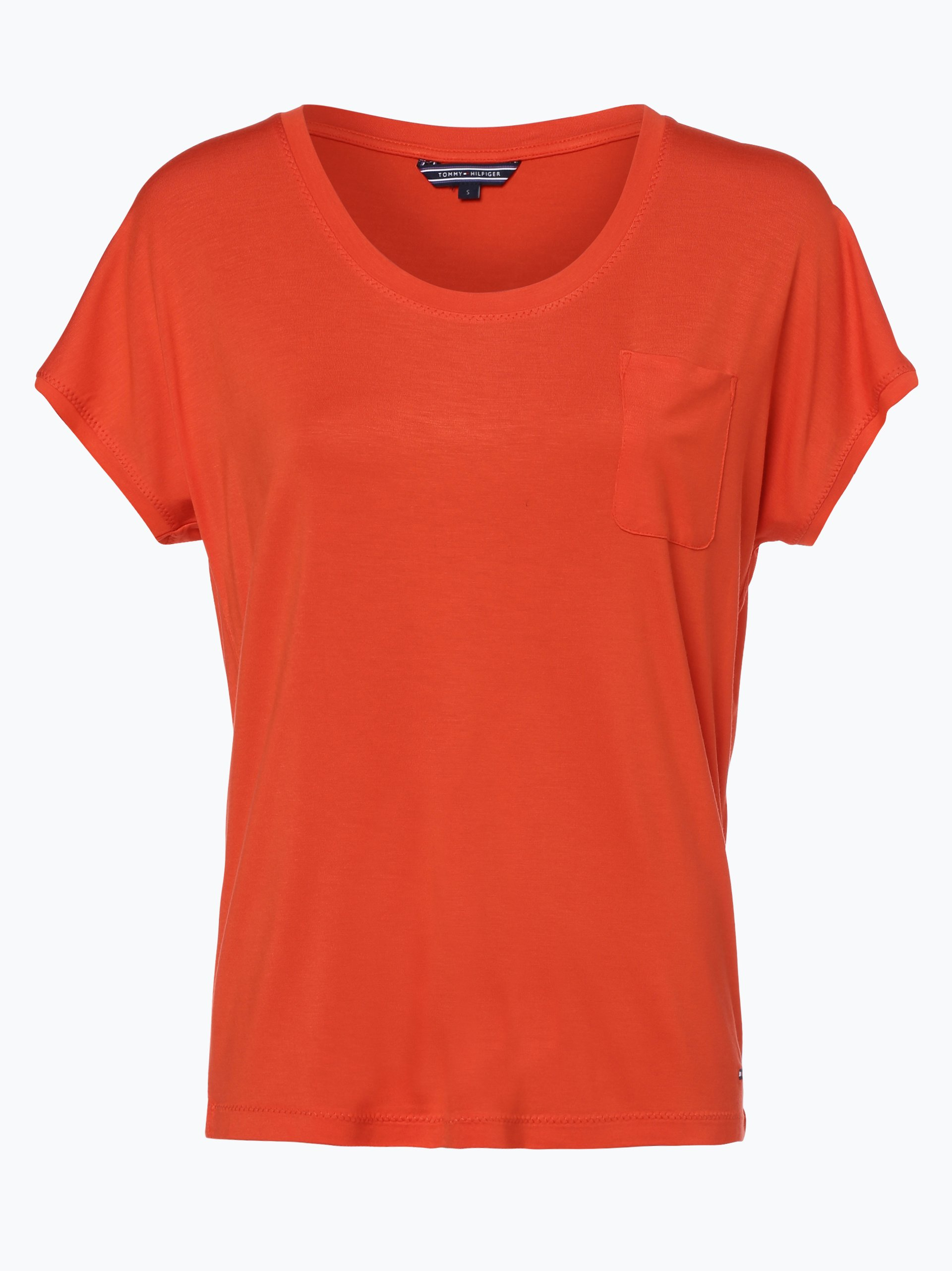 tommy hilfiger damen t shirt draser orange uni online. Black Bedroom Furniture Sets. Home Design Ideas