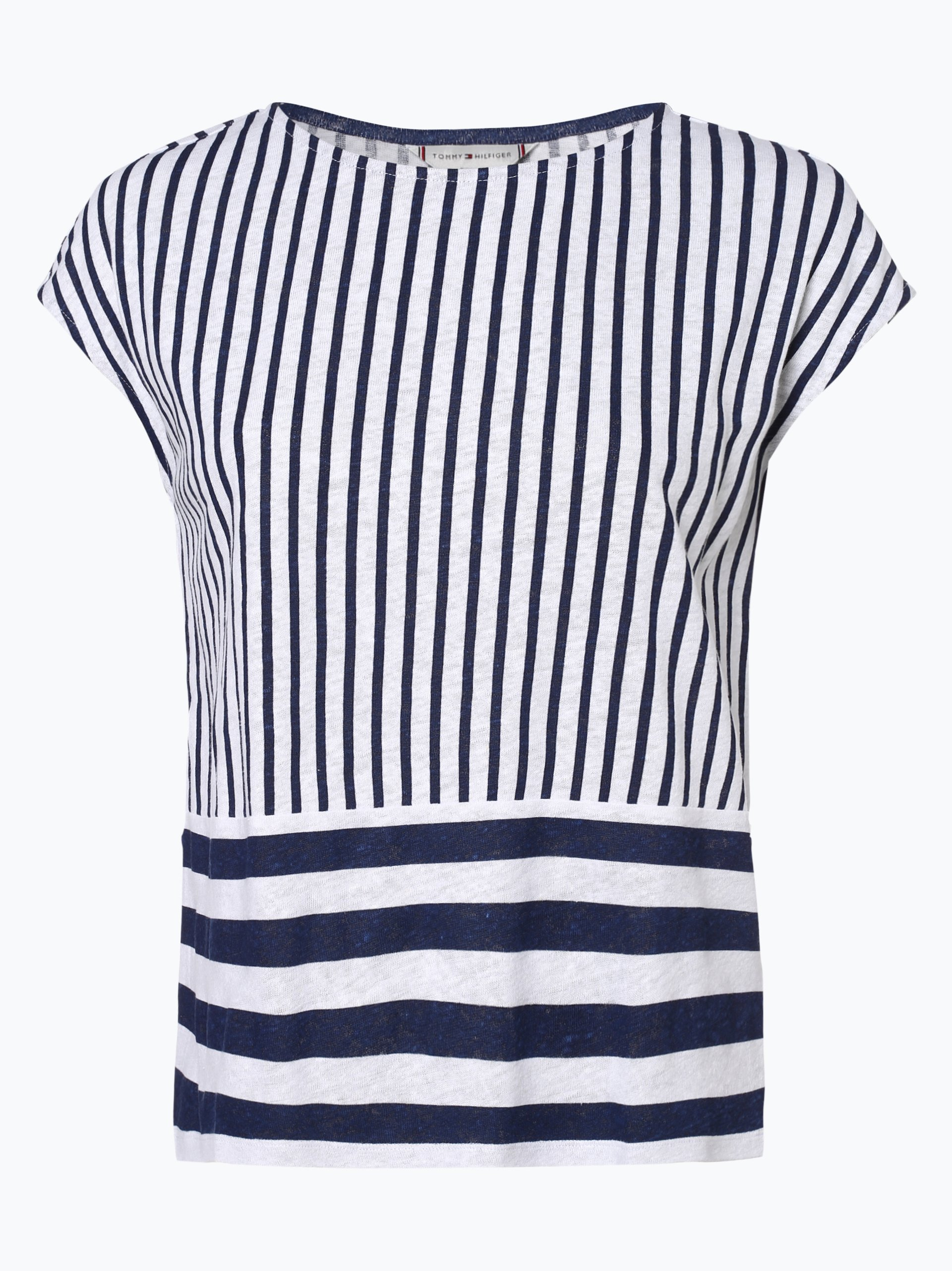 Tommy Hilfiger Damen T-Shirt mit Leinen-Anteil