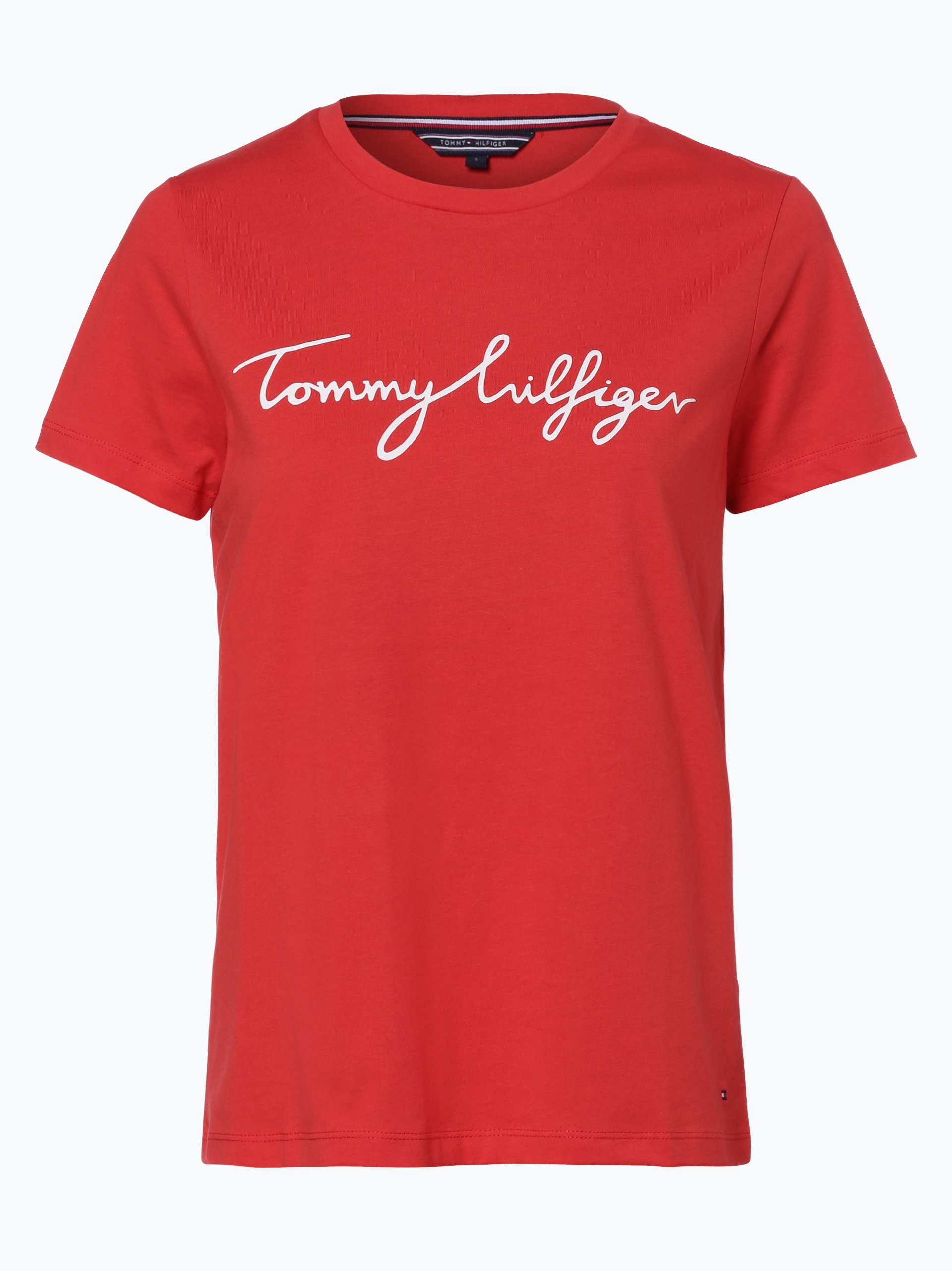 tommy hilfiger damen t shirt rot uni online kaufen peek. Black Bedroom Furniture Sets. Home Design Ideas