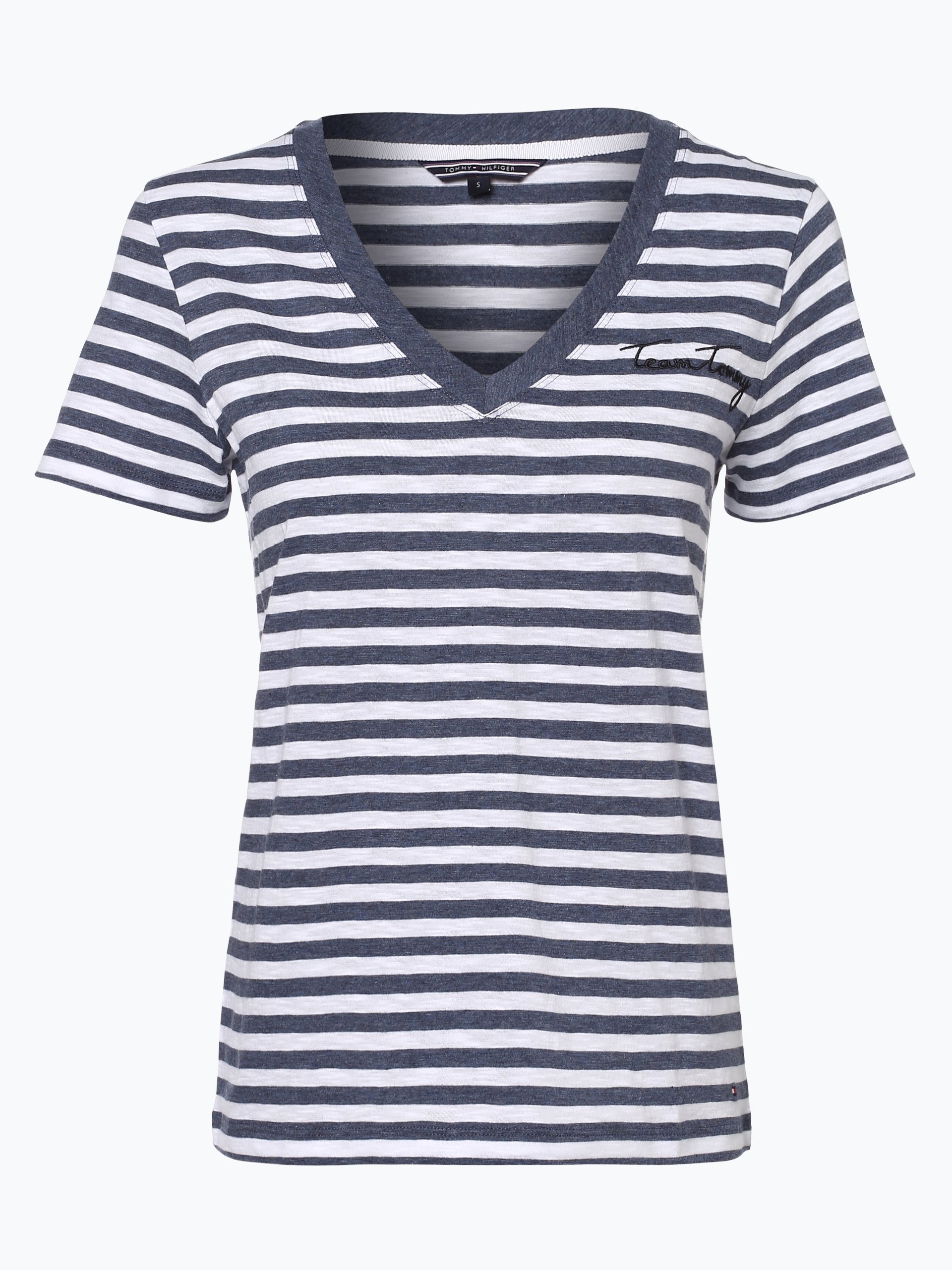tommy hilfiger damen t shirt marine gestreift online. Black Bedroom Furniture Sets. Home Design Ideas