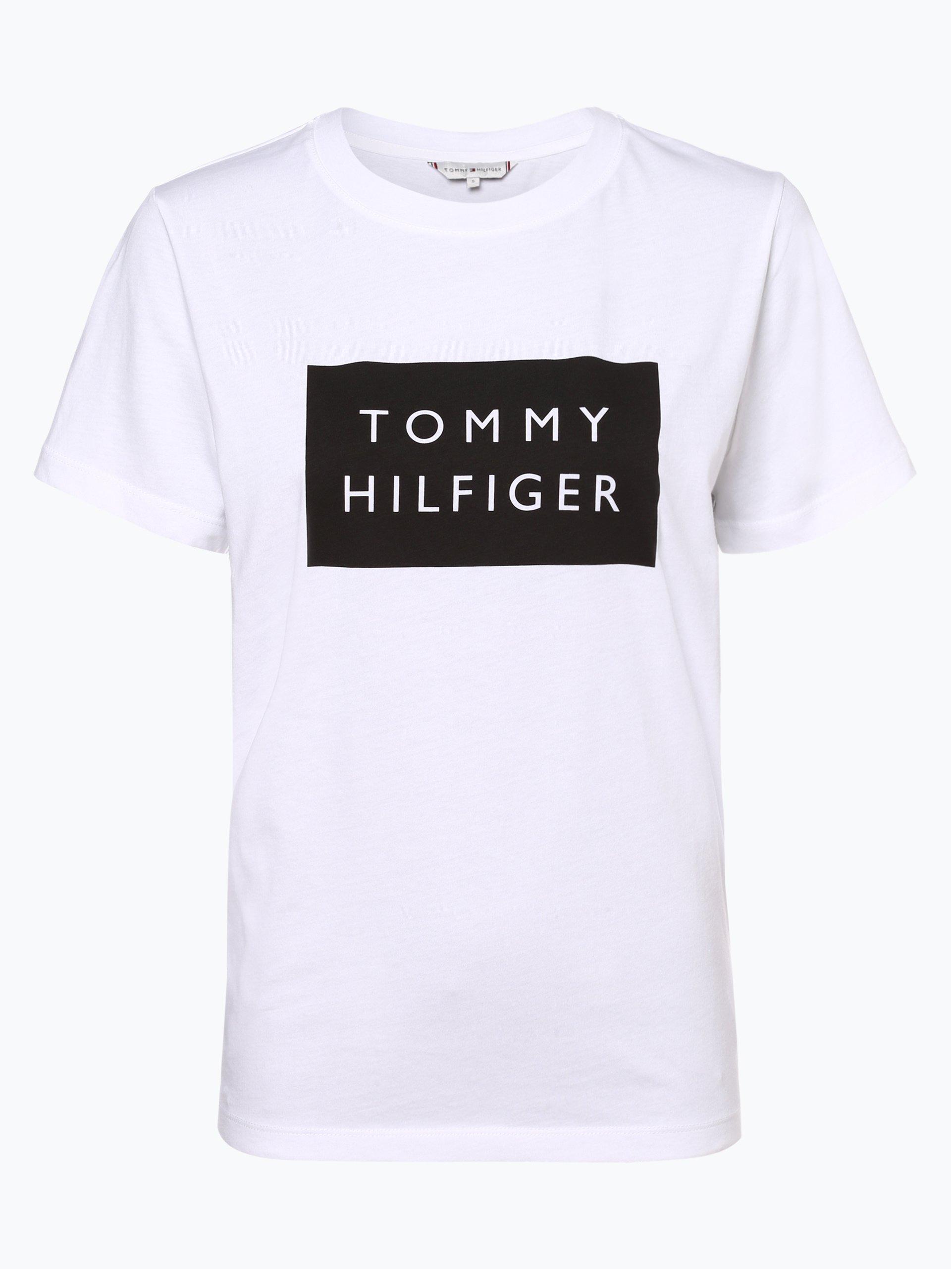 tommy hilfiger damen t shirt wei bedruckt online kaufen peek und cloppenburg de. Black Bedroom Furniture Sets. Home Design Ideas