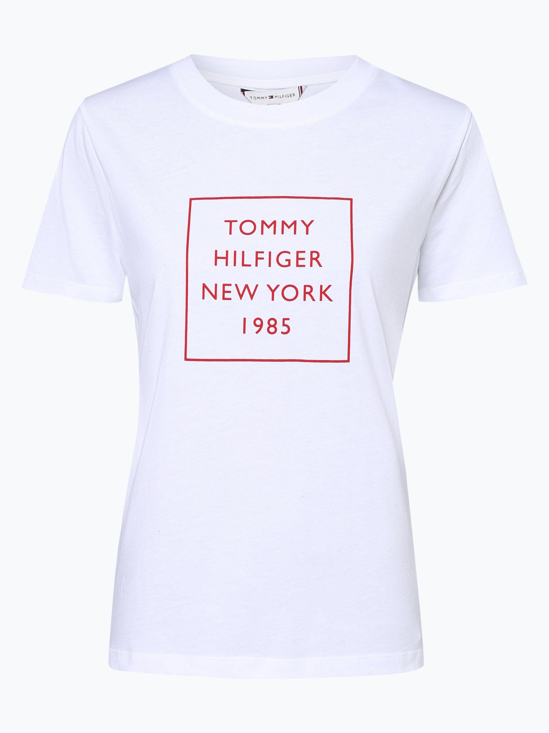 tommy hilfiger damen t shirt wei rot bedruckt online. Black Bedroom Furniture Sets. Home Design Ideas