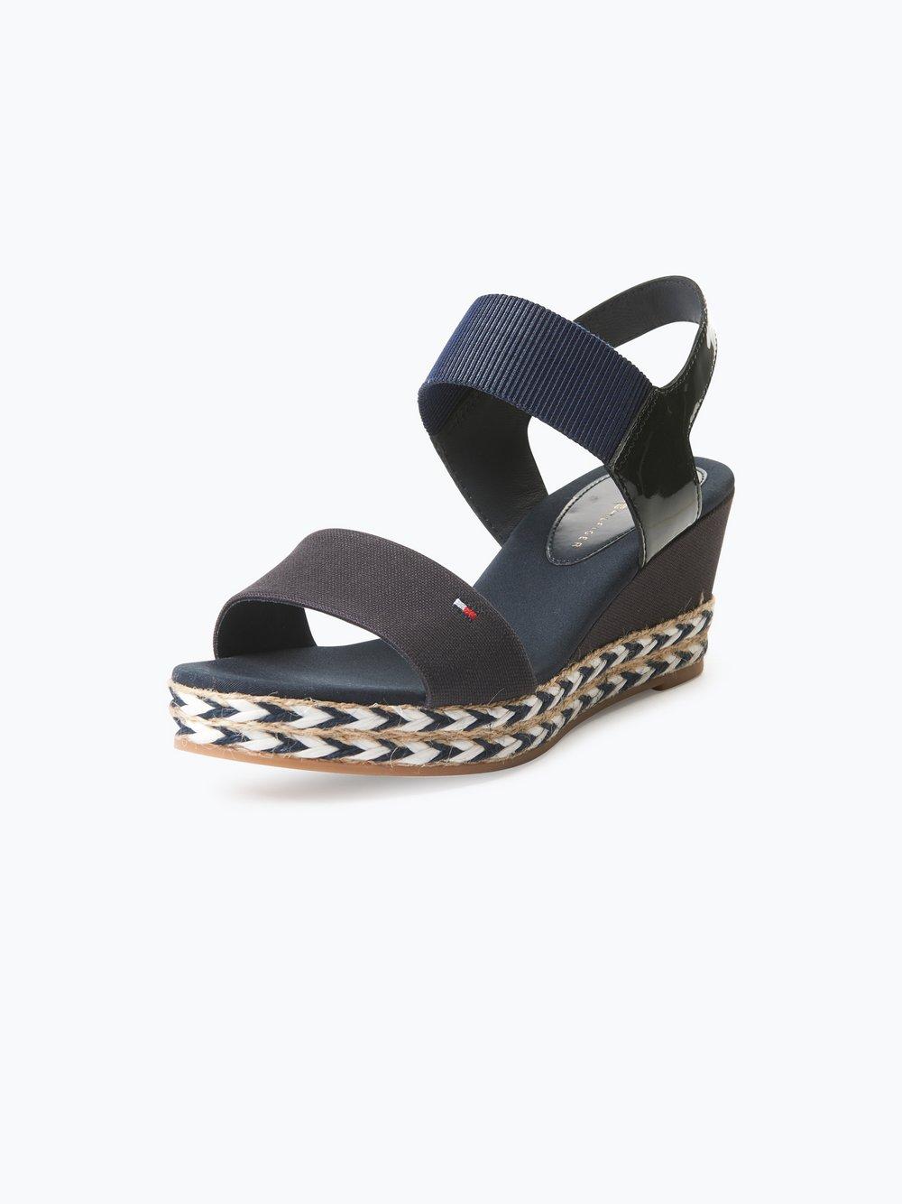 Tommy Hilfiger Damskie sandały na koturnie ze skórzanymi