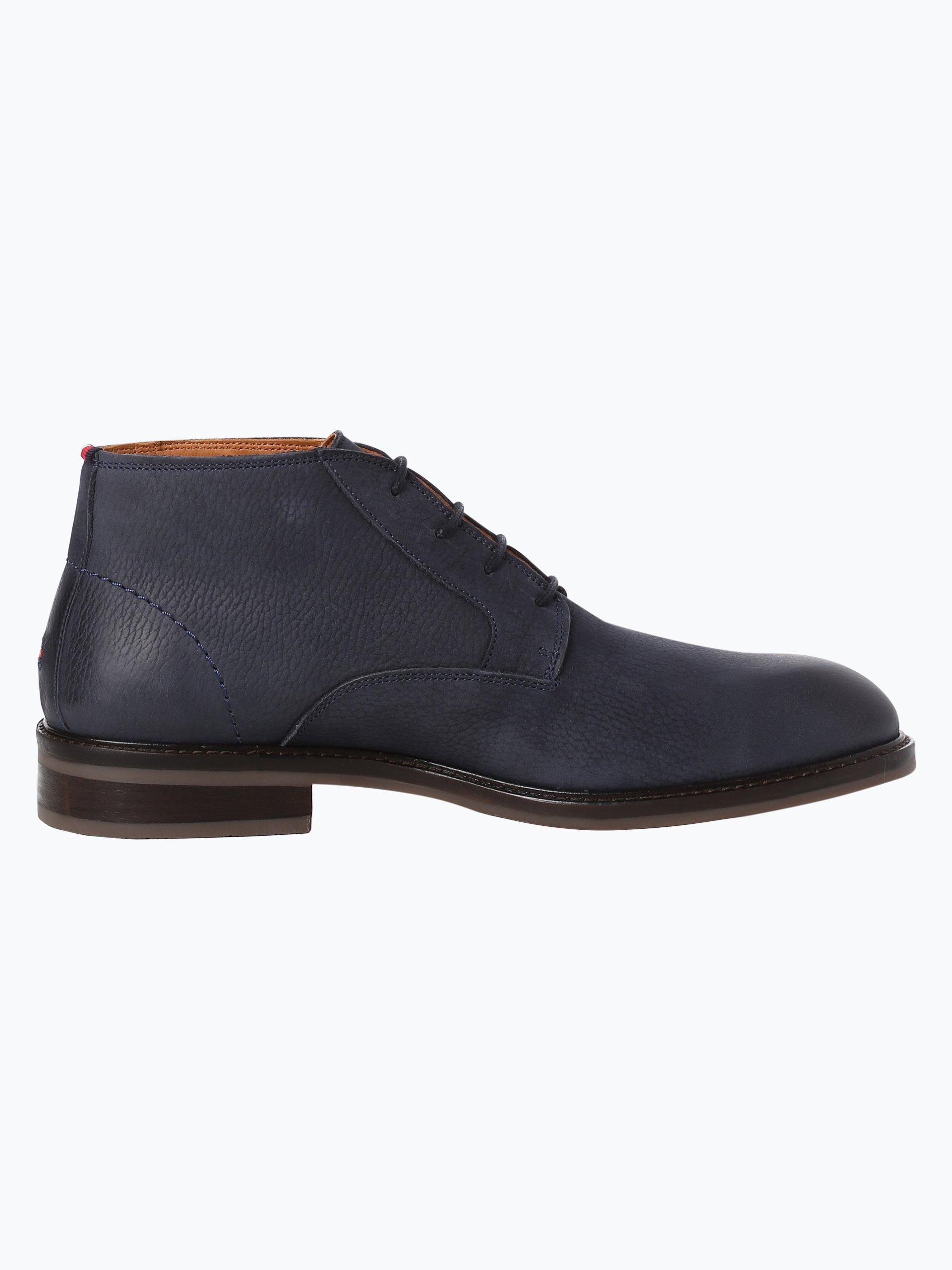 tommy hilfiger herren boots aus leder rounder blau uni. Black Bedroom Furniture Sets. Home Design Ideas
