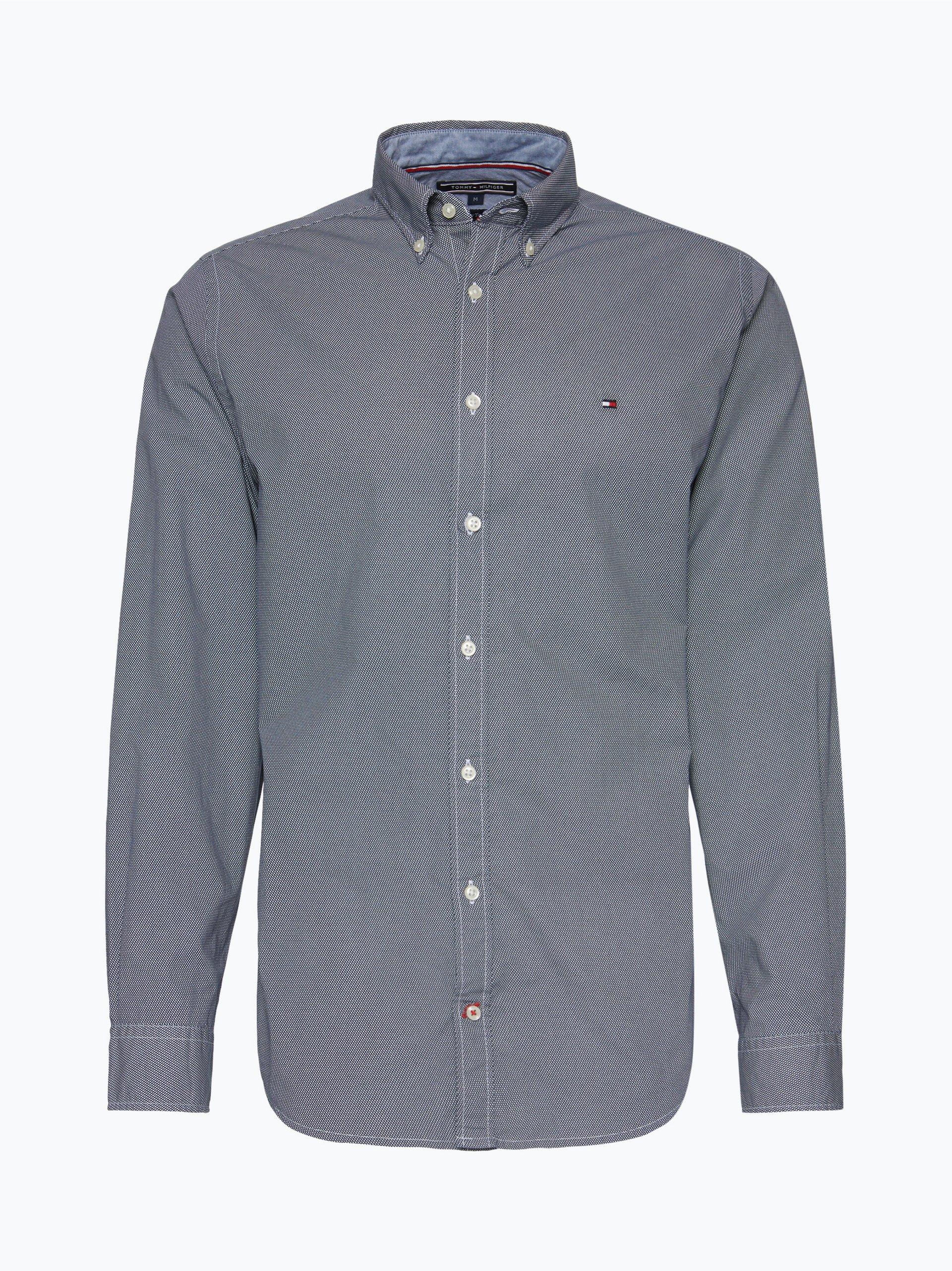 tommy hilfiger herren hemd marine gemustert online kaufen vangraaf com. Black Bedroom Furniture Sets. Home Design Ideas