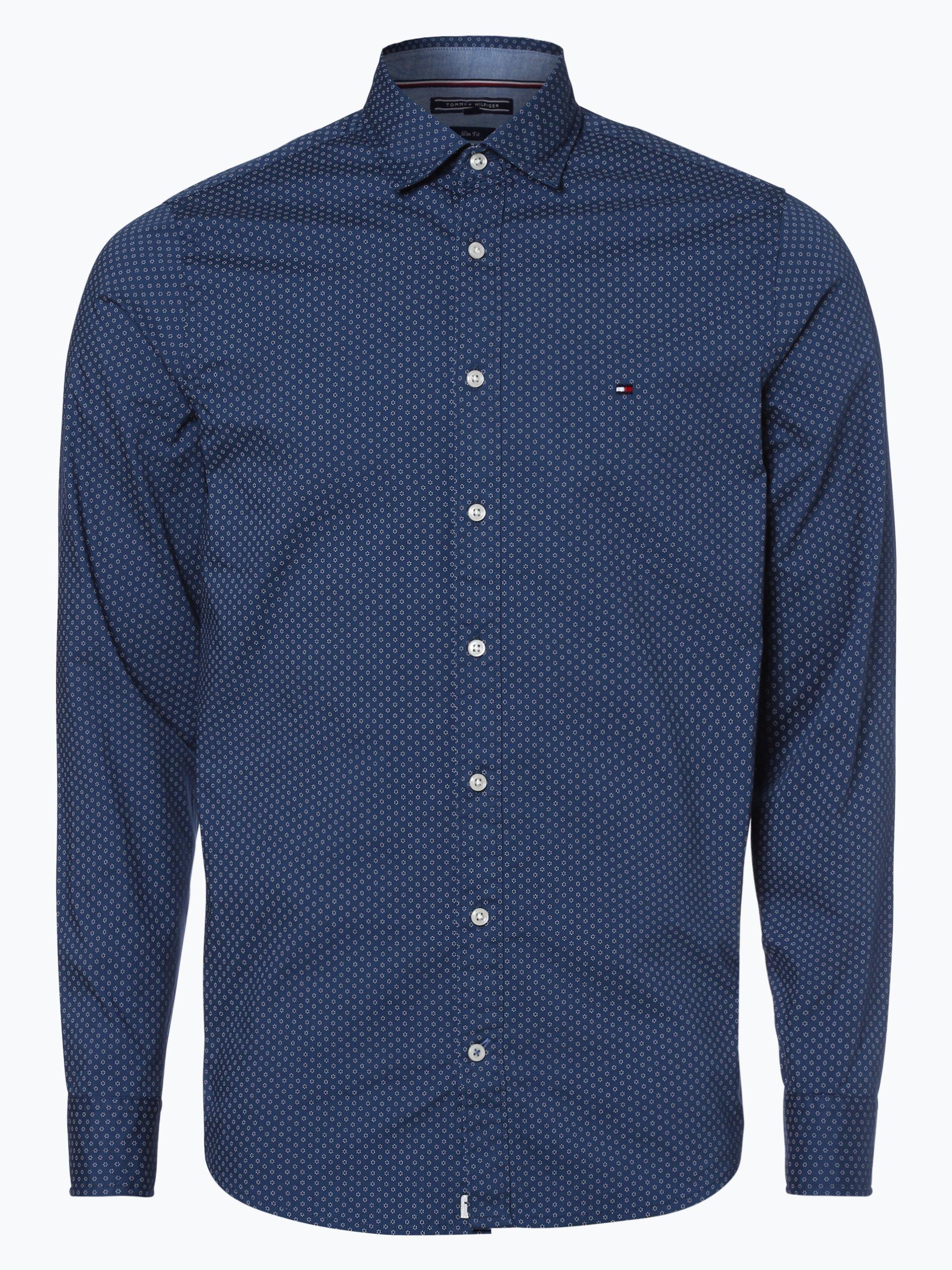 tommy hilfiger herren hemd indigo gemustert online kaufen. Black Bedroom Furniture Sets. Home Design Ideas