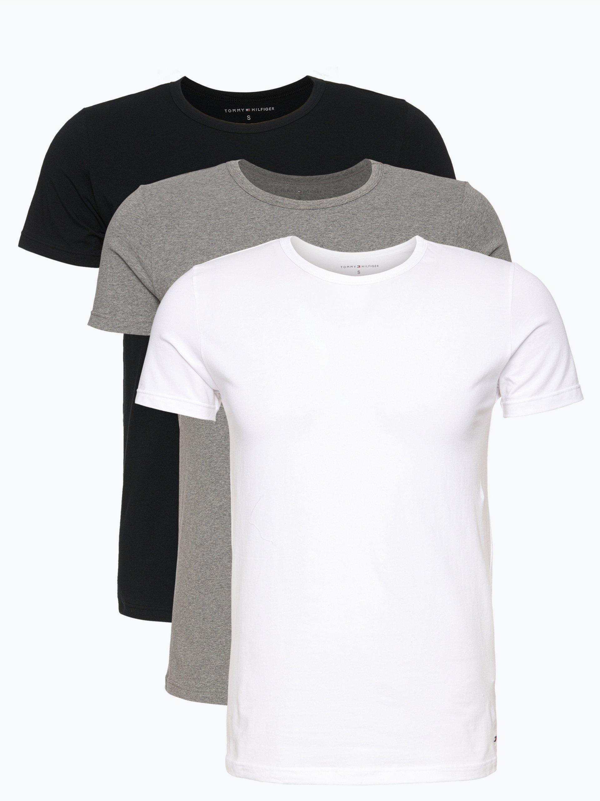 tommy hilfiger herren t shirt im 3er pack mehrfarbig uni. Black Bedroom Furniture Sets. Home Design Ideas