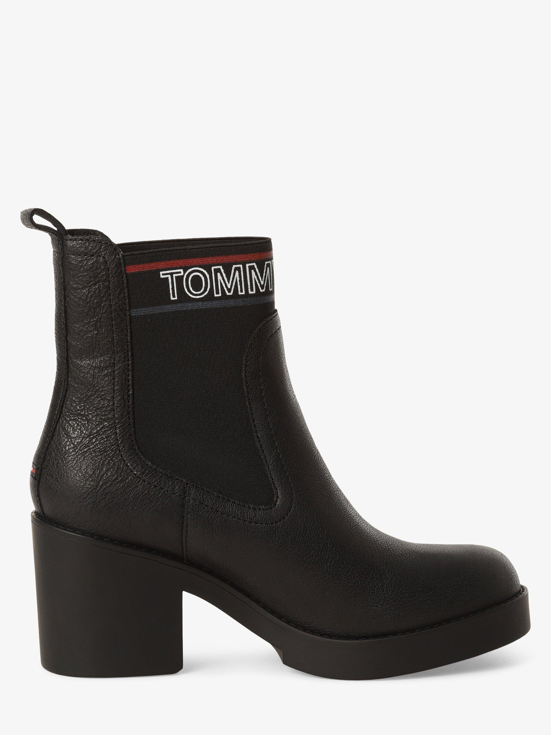 Tommy Jeans Botki damskie z dodatkiem skóry