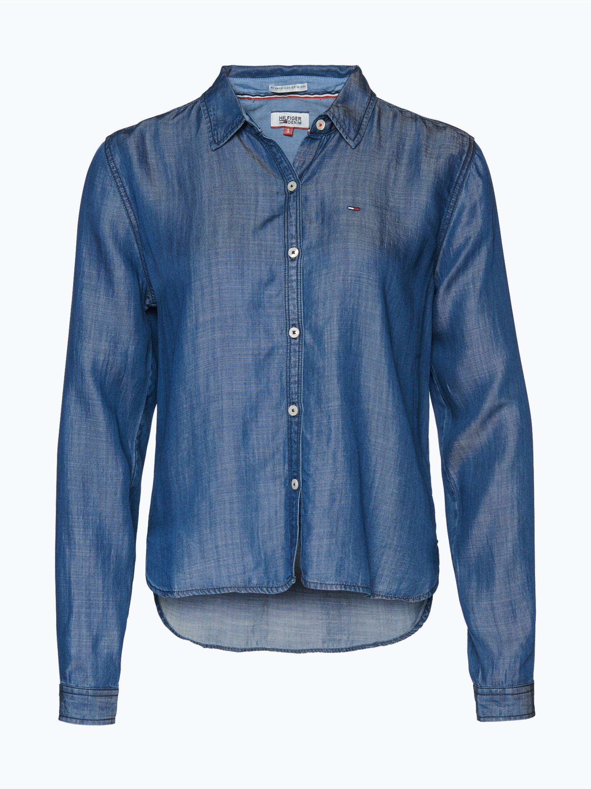 tommy jeans damen jeansbluse marine uni online kaufen. Black Bedroom Furniture Sets. Home Design Ideas