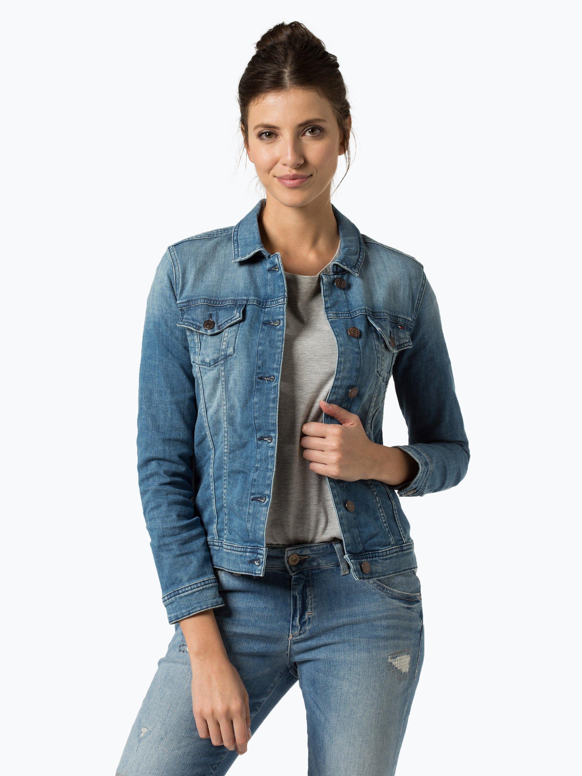 tommy jeans damen jeansjacke vivianne hellblau uni online kaufen vangraaf com. Black Bedroom Furniture Sets. Home Design Ideas