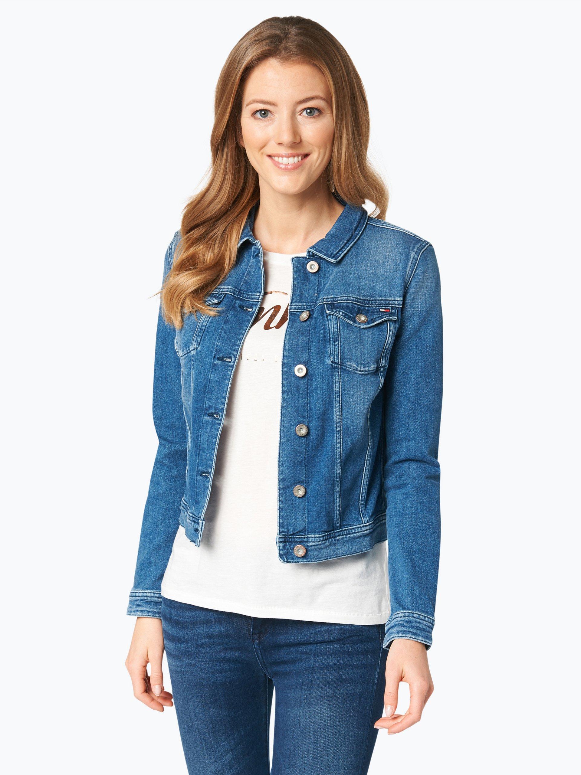 tommy jeans damen jeansjacke blau uni online kaufen peek. Black Bedroom Furniture Sets. Home Design Ideas