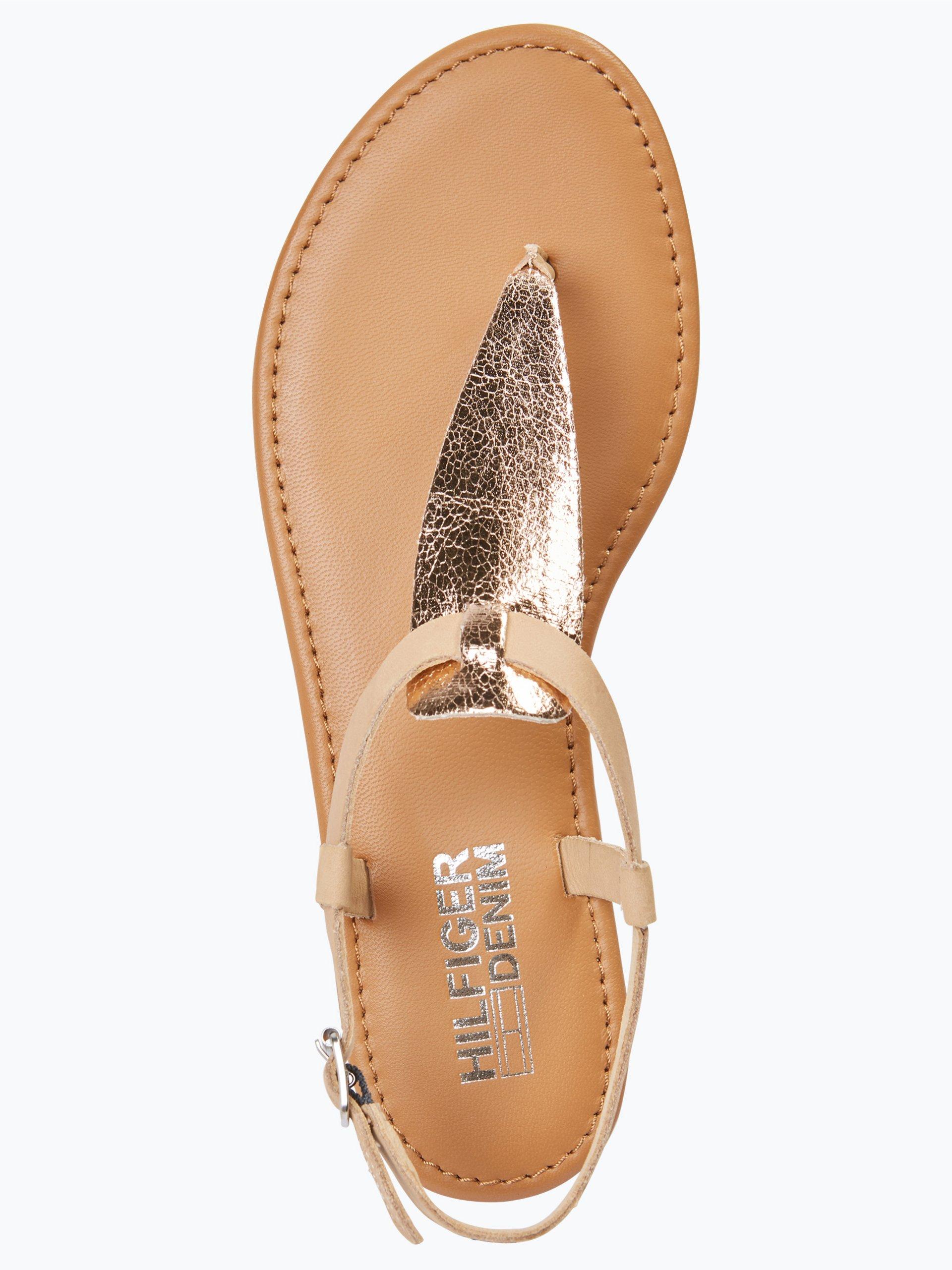 tommy jeans damen sandalen mit leder anteil rosa gold uni. Black Bedroom Furniture Sets. Home Design Ideas