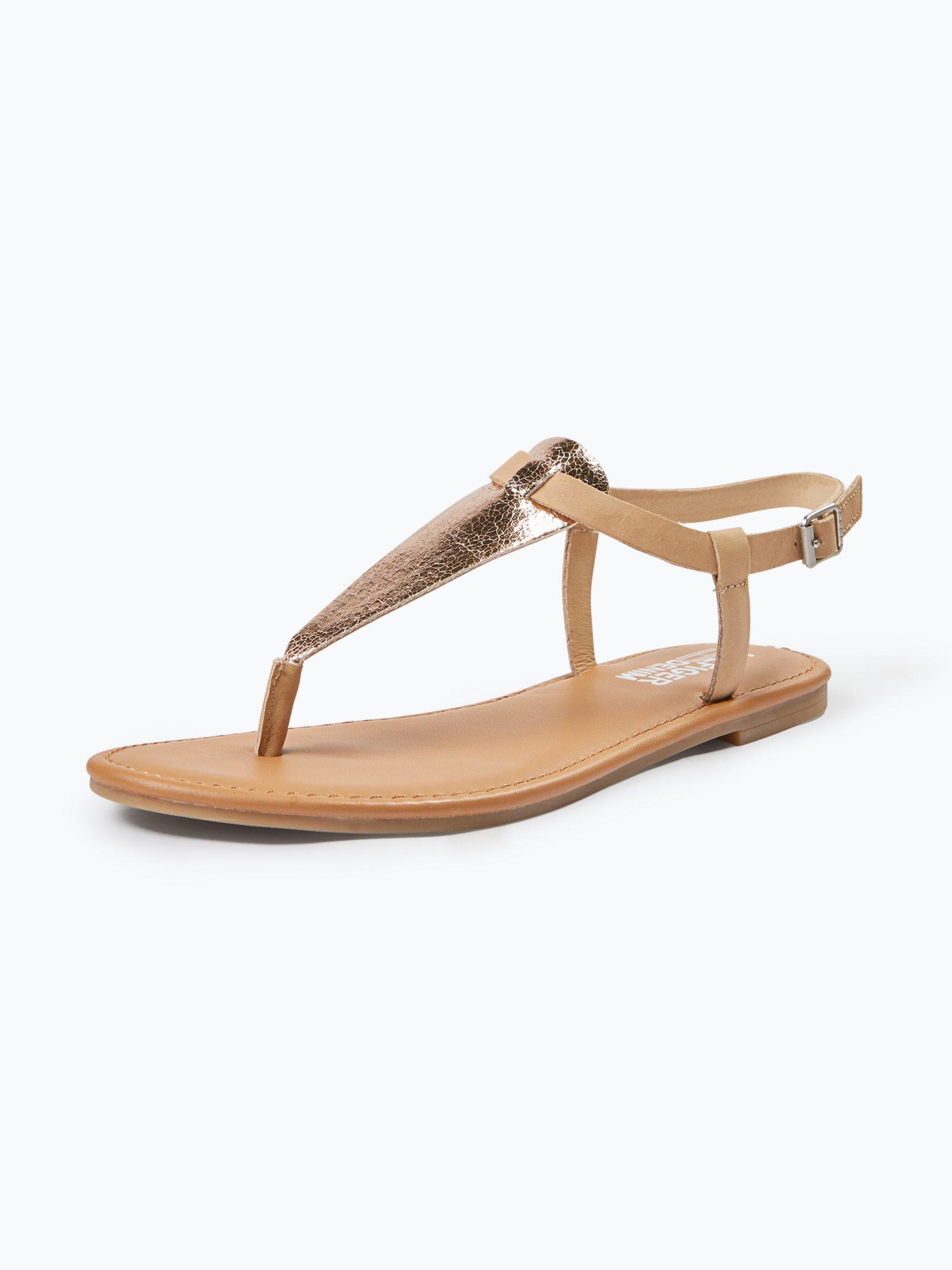 tommy jeans damen sandalen mit leder anteil gold uni. Black Bedroom Furniture Sets. Home Design Ideas