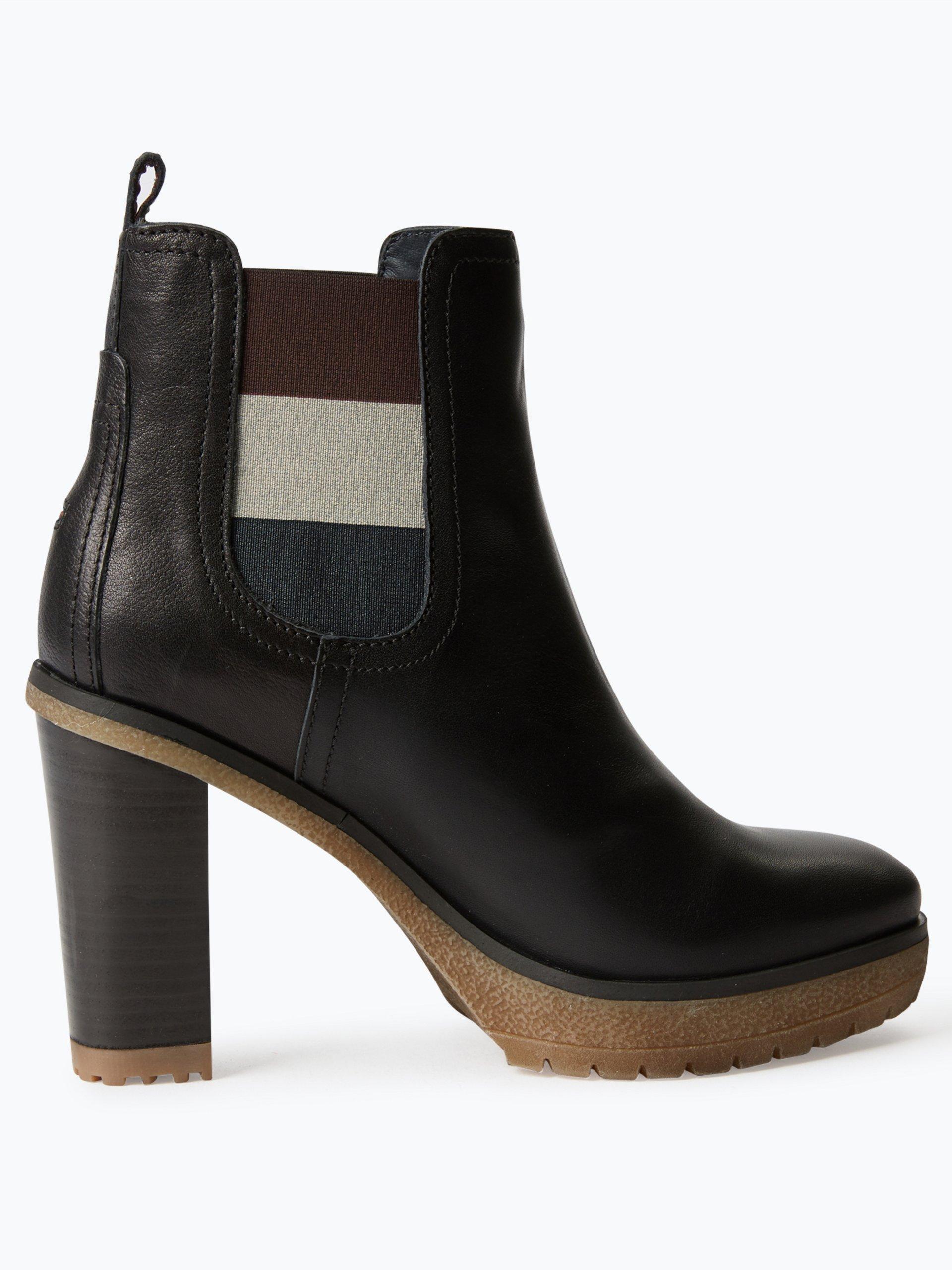 tommy jeans damen stiefeletten aus leder schwarz uni. Black Bedroom Furniture Sets. Home Design Ideas
