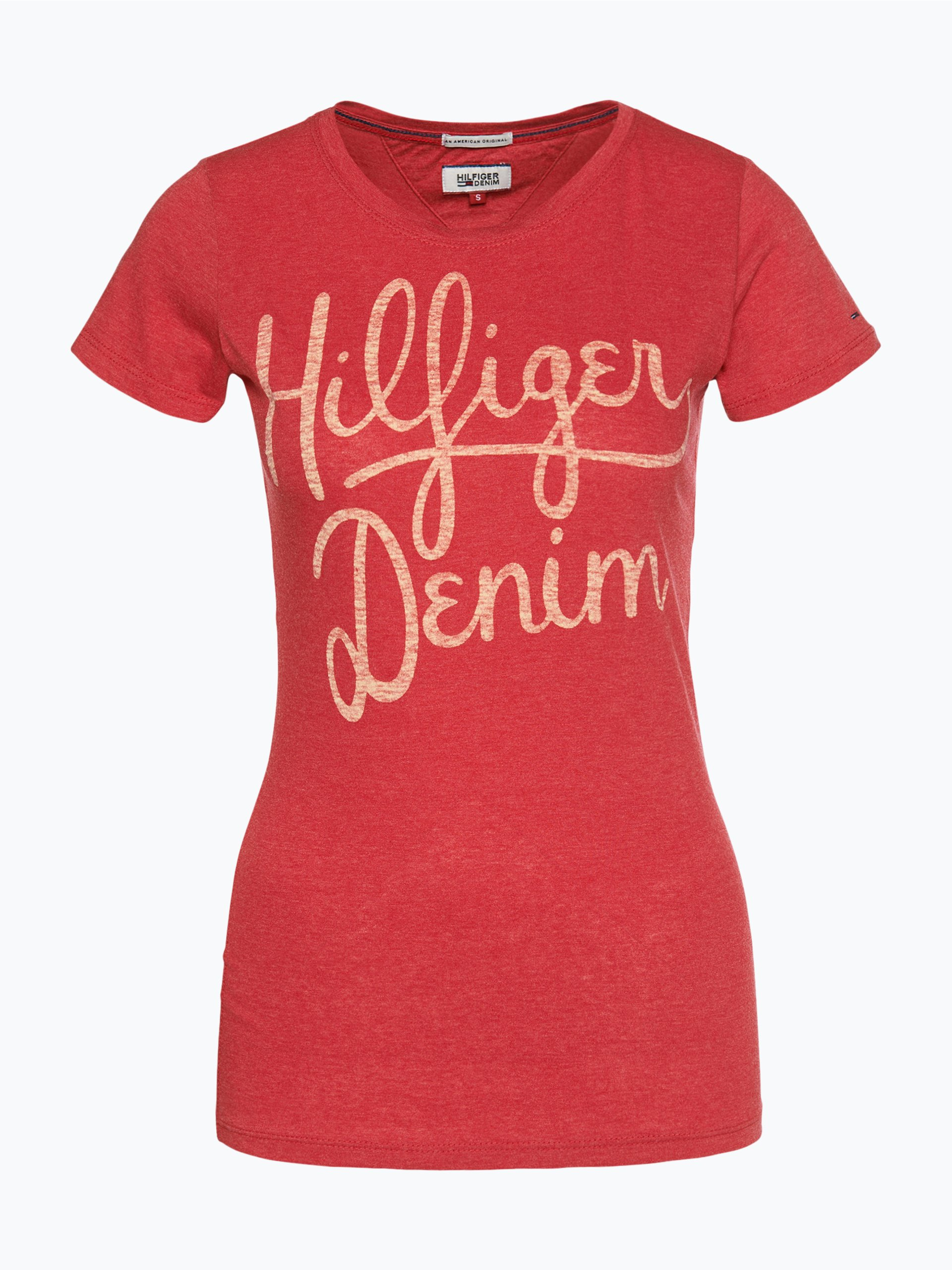 tommy jeans damen t shirt rot uni online kaufen peek und. Black Bedroom Furniture Sets. Home Design Ideas