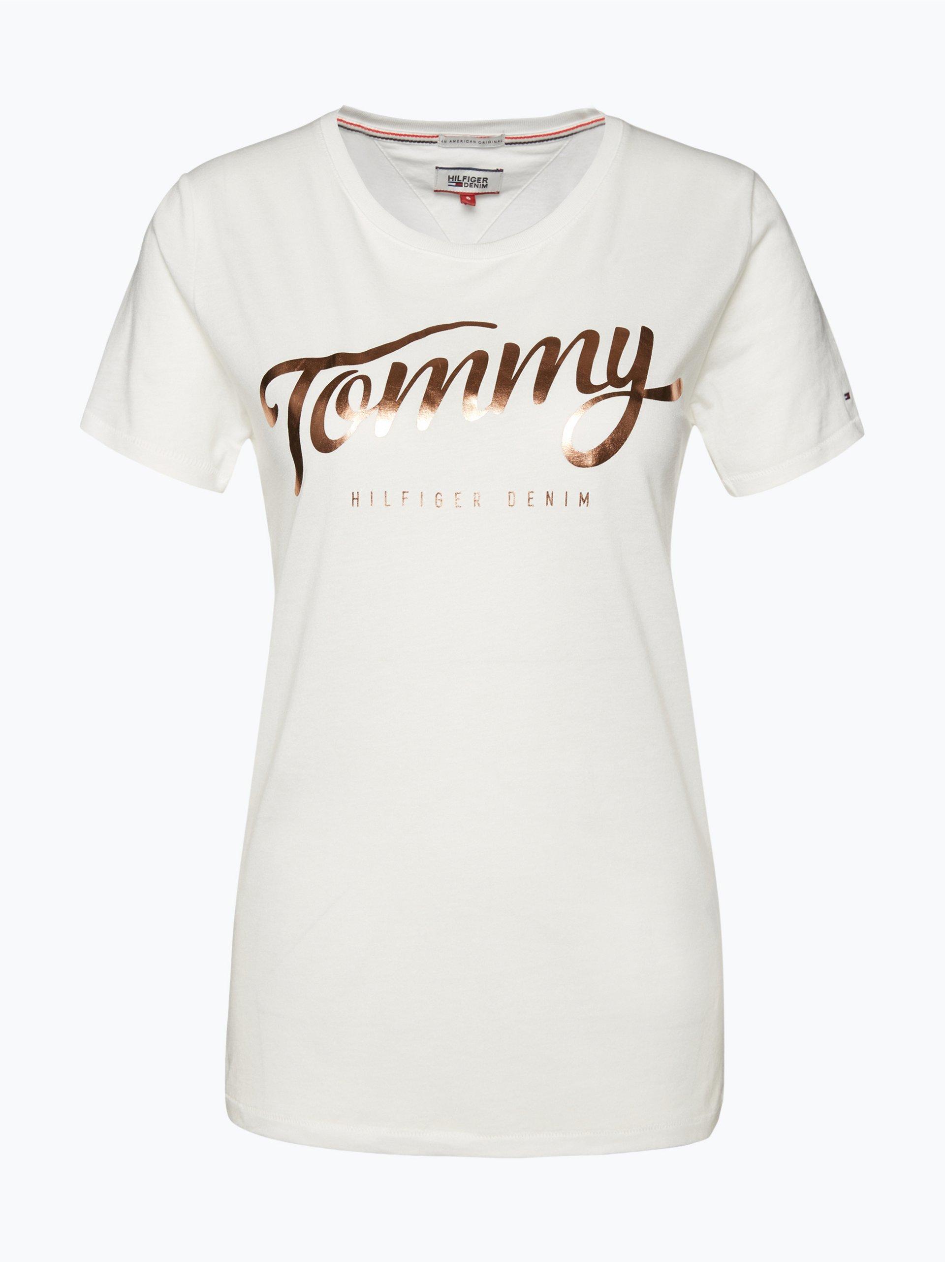 tommy jeans damen t shirt wei gemustert online kaufen. Black Bedroom Furniture Sets. Home Design Ideas