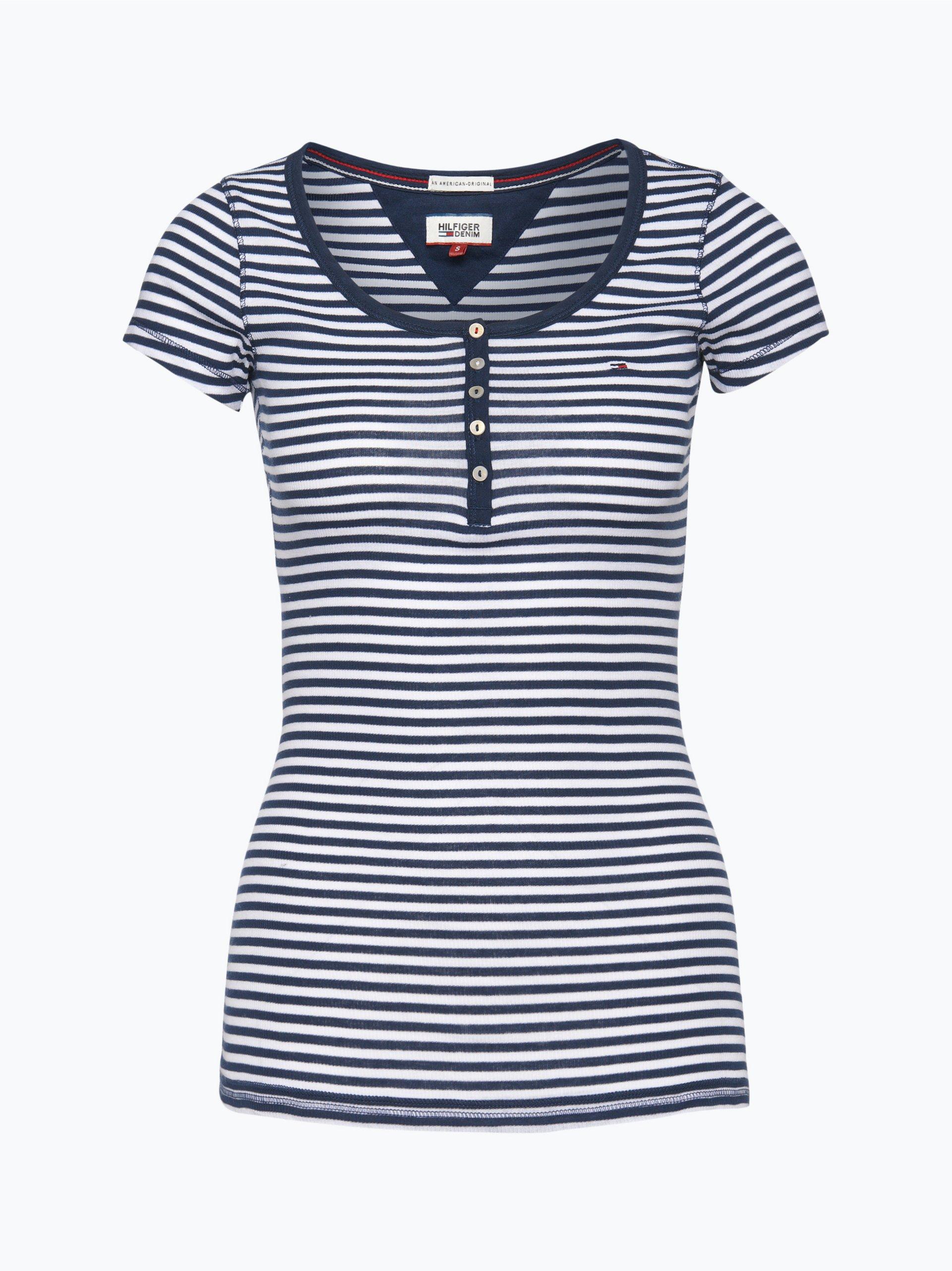 tommy jeans damen t shirt marine gestreift online kaufen. Black Bedroom Furniture Sets. Home Design Ideas