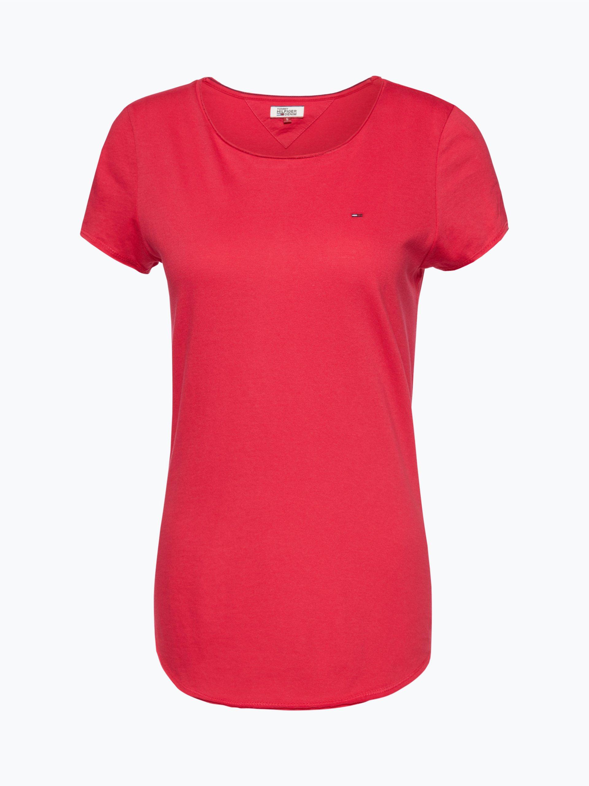 tommy jeans damen t shirt rosa uni online kaufen peek. Black Bedroom Furniture Sets. Home Design Ideas