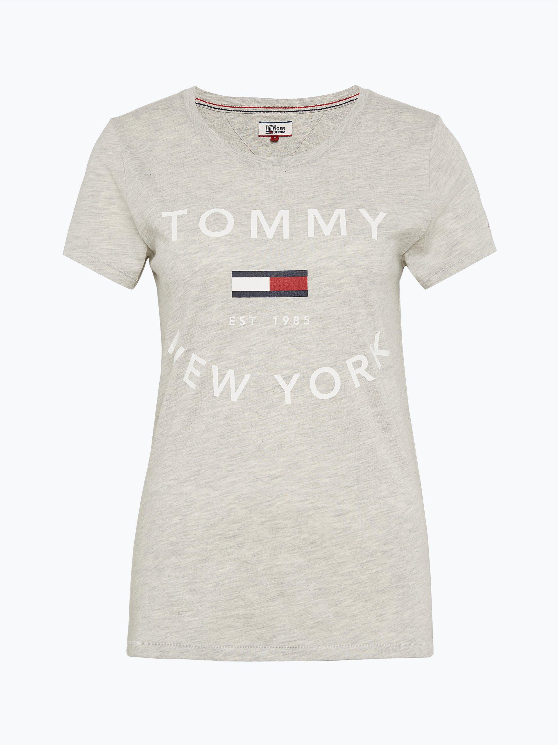 tommy jeans damen t shirt grau uni online kaufen peek. Black Bedroom Furniture Sets. Home Design Ideas