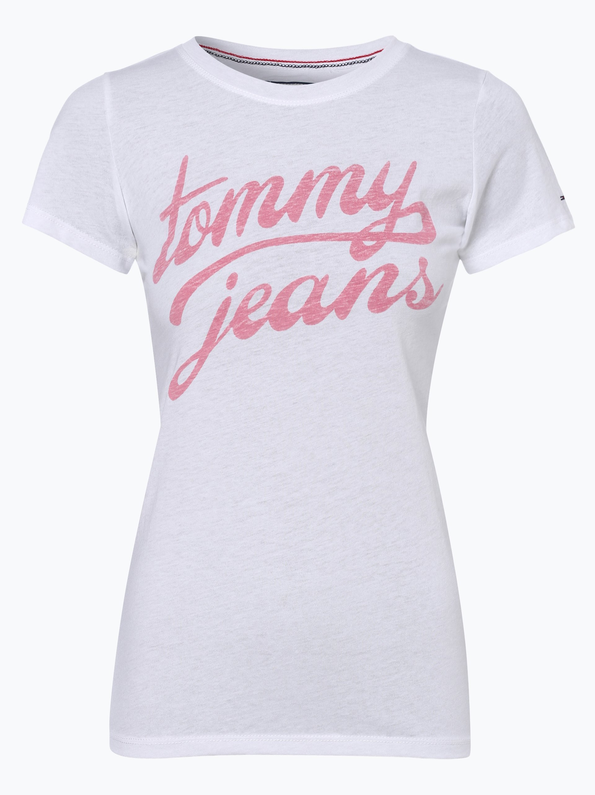 tommy jeans damen t shirt wei uni online kaufen. Black Bedroom Furniture Sets. Home Design Ideas