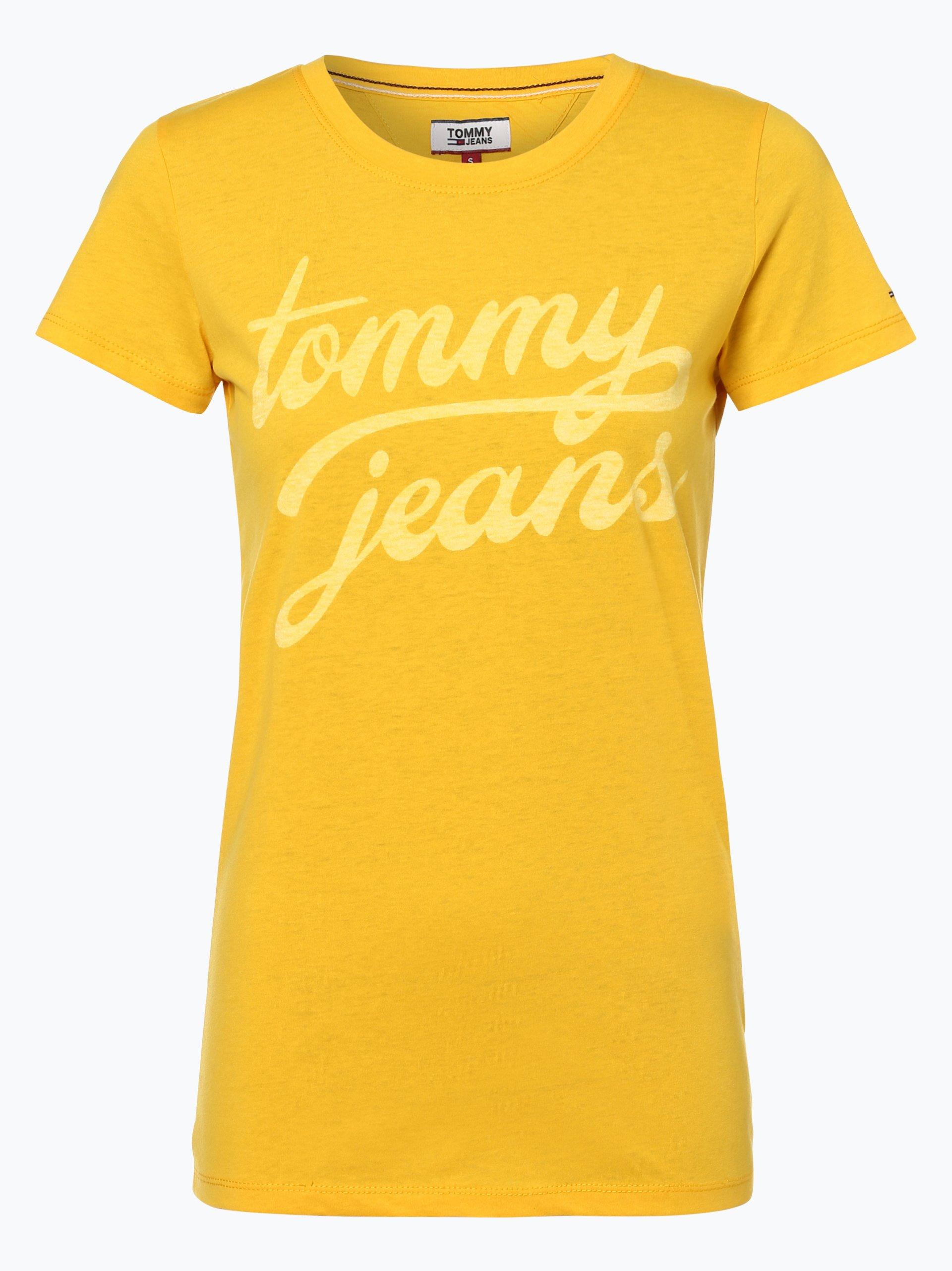 tommy jeans damen t shirt gelb uni online kaufen. Black Bedroom Furniture Sets. Home Design Ideas