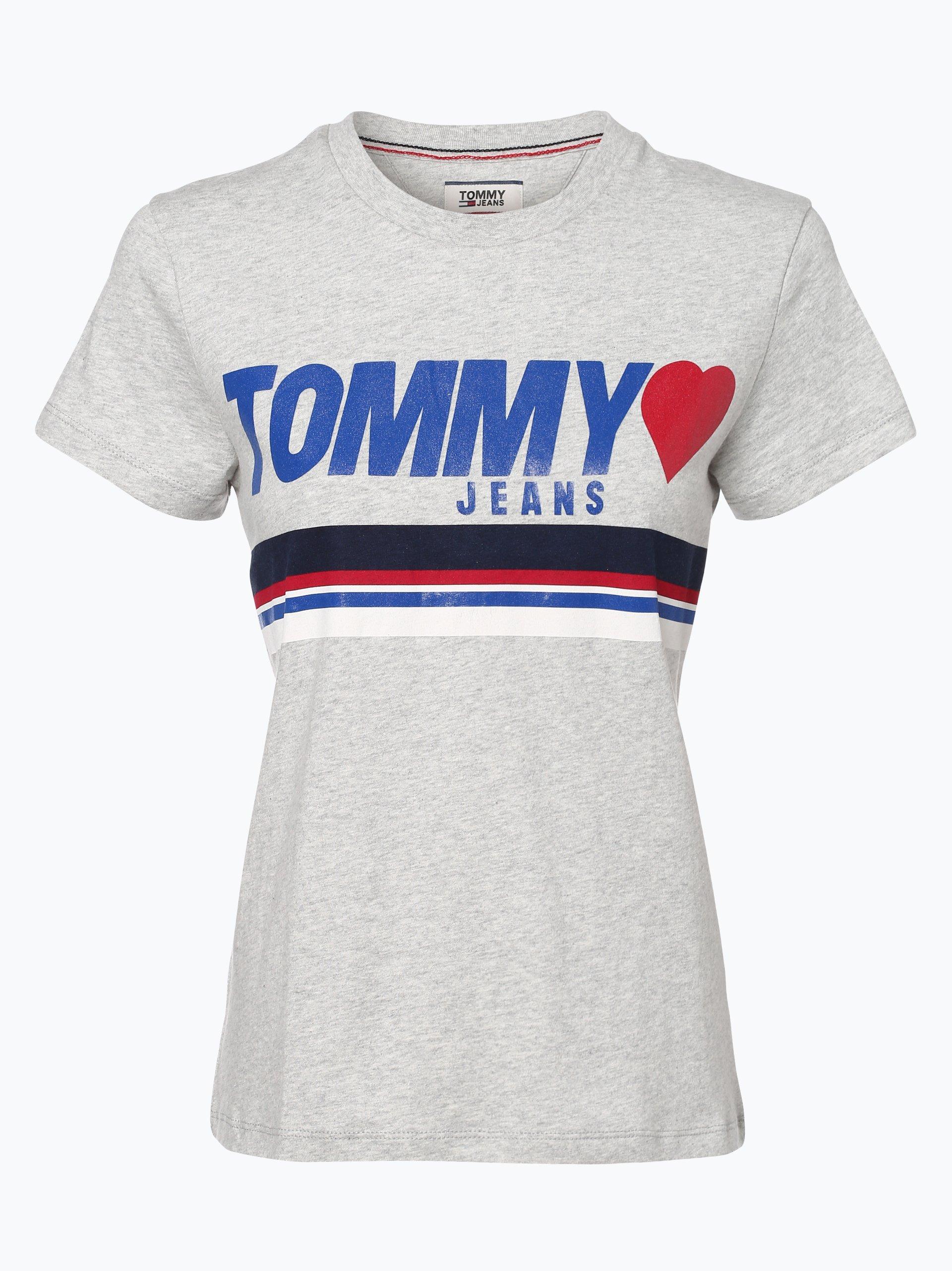 tommy jeans damen t shirt grau gemustert online kaufen. Black Bedroom Furniture Sets. Home Design Ideas