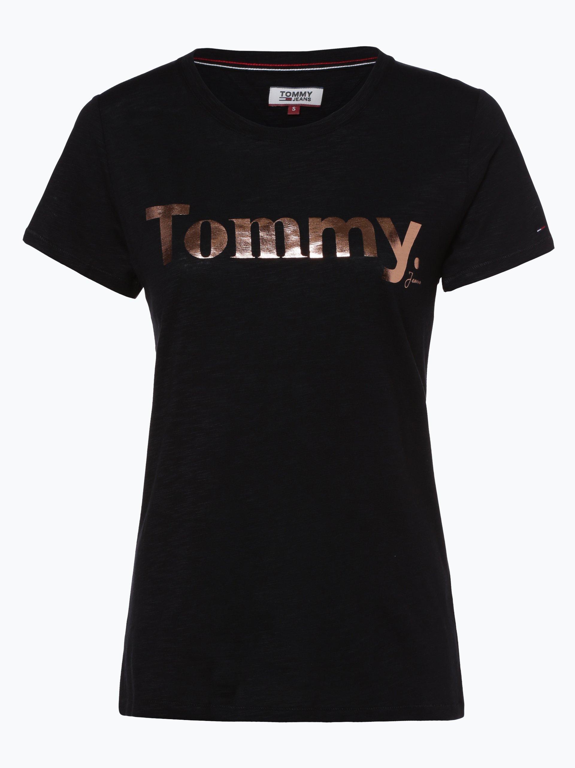 tommy jeans damen t shirt schwarz uni online kaufen peek. Black Bedroom Furniture Sets. Home Design Ideas