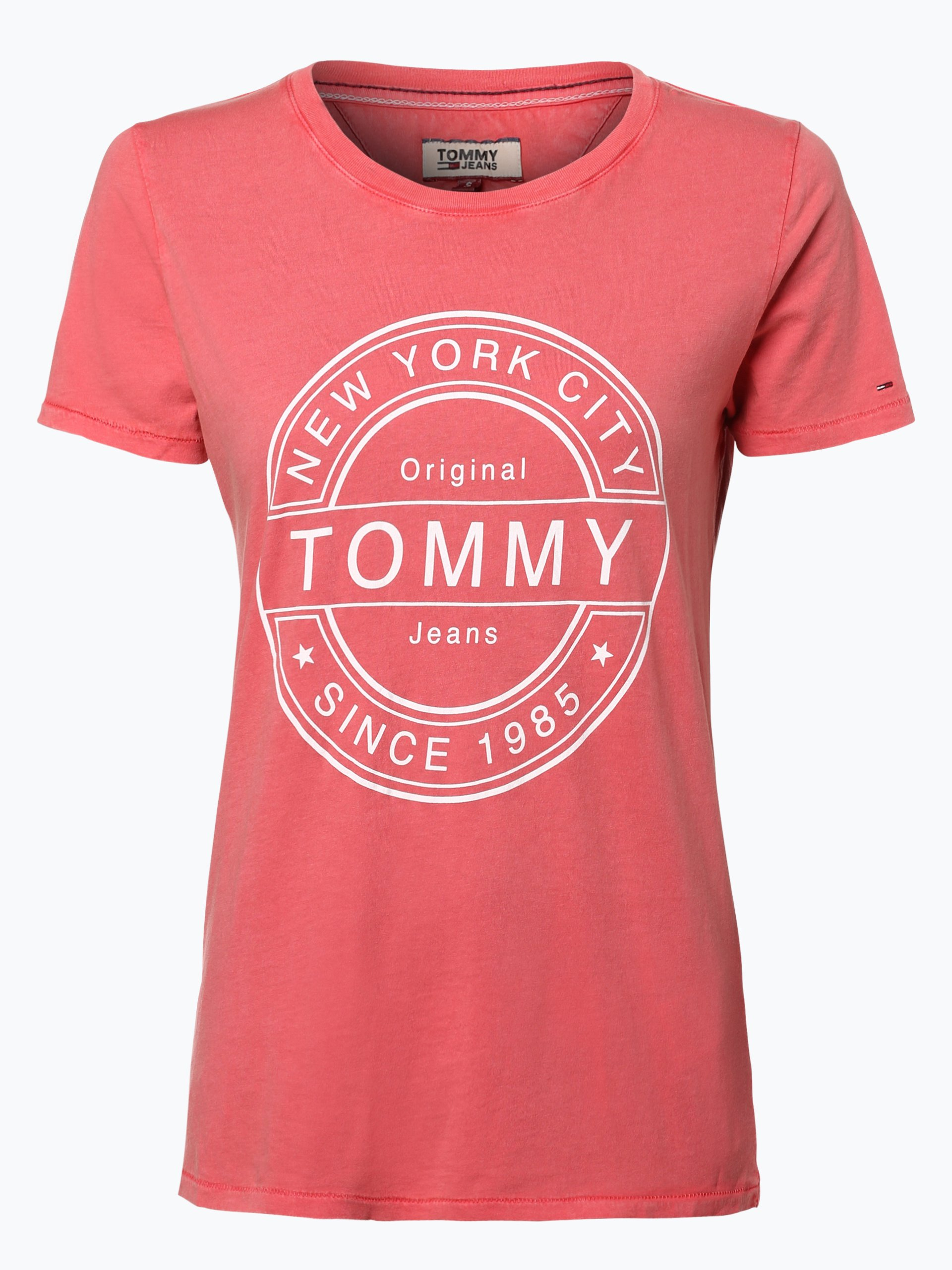 tommy jeans damen t shirt koralle gemustert online kaufen. Black Bedroom Furniture Sets. Home Design Ideas