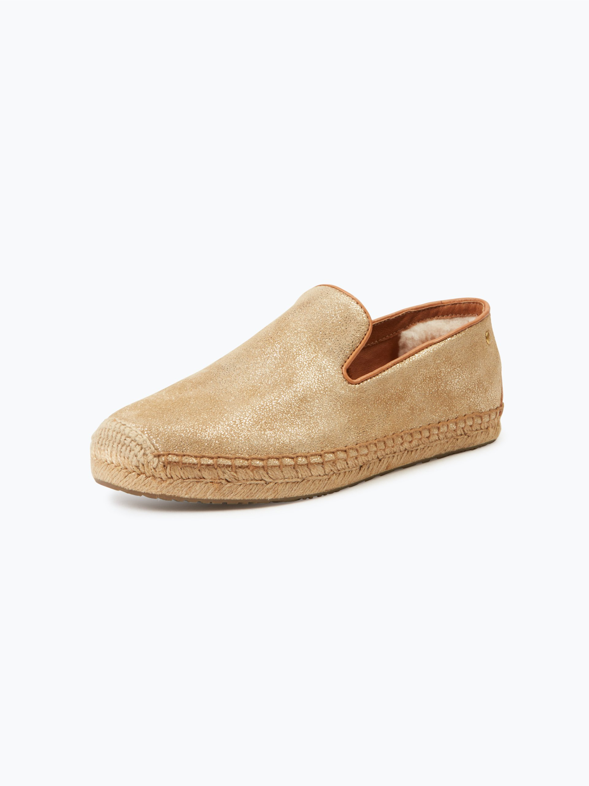 ugg damen espadrilles aus leder w sandrinne ii gold uni online kaufen peek und cloppenburg de. Black Bedroom Furniture Sets. Home Design Ideas